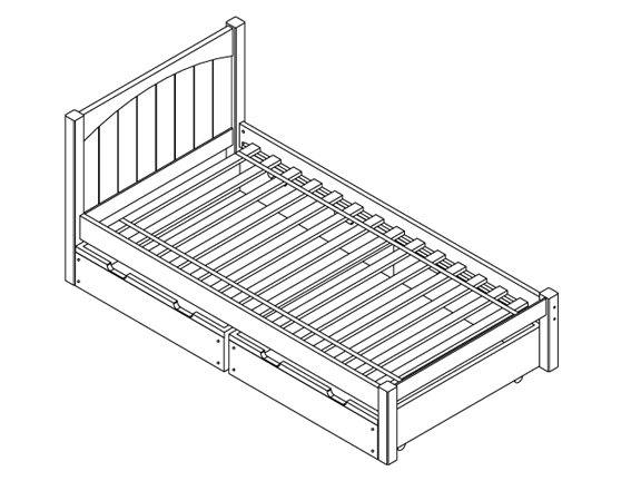 Yipee 1 Twin Bed (Medium/Footrail Bed Ends) with 2-Drawers