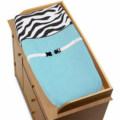 Zebra Turquoise Changing Pad Cover