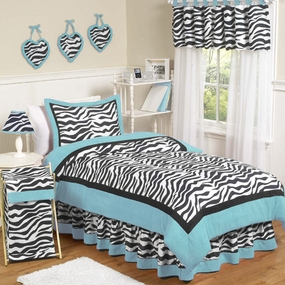 Zebra Turquoise Kids Bedding Collection