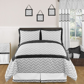 Zig Zag Black and Gray Kids Bedding Collection
