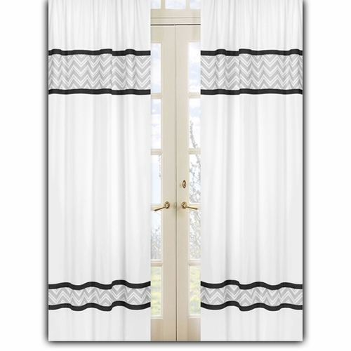 Zig Zag Black and Gray Window Curtain Panels