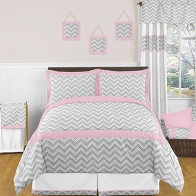Zig Zag Pink and Gray Kids Bedding Collection