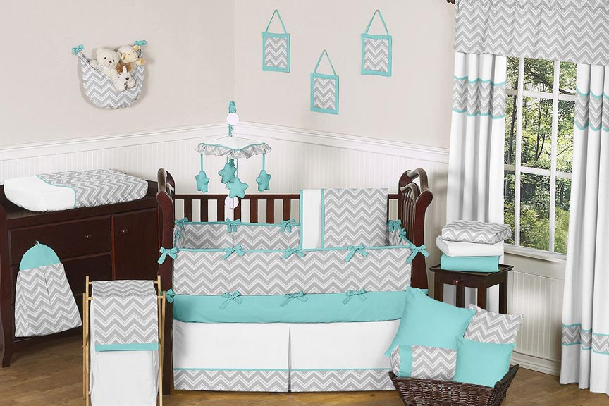 Zig Zag Turquoise and Gray 9 pc Crib Bedding Set