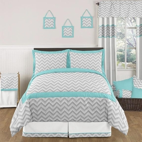 Zig Zag Turquoise and Gray Kids Bedding Collection