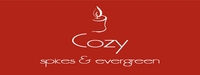 """Cozy<br><font name=""""Arial"""" color=""""#C9CFC9""""size=2>spices & evergreen"""