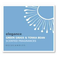 "Elegance<br><font name=""Arial"" color=""#C9CFC9""size=2>bergamot, green grass & tonka bean"