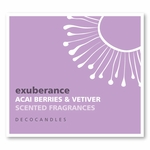 "Exuberance<br><font name=""Arial"" color=""#C9CFC9""size=2>acai berries & vetiver"