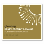 "Glowing<br><font name=""Arial"" color=""#C9CFC9""size=2>honey, coconut & mango"
