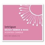 "Intrigue<br><font name=""Arial"" color=""#C9CFC9""size=2>musky amber & rose"