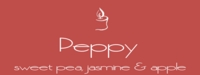 """Peppy<br><font name=""""Arial"""" color=""""#C9CFC9""""size=2>sweet pea, jasmine & apple"""