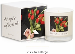 "<font name=""Arial"" color=""#df0101""size=2>""Be my Valentine?""<font name=""Arial"" color=""#848484""size=2> Personalized Jar Candle and Box"