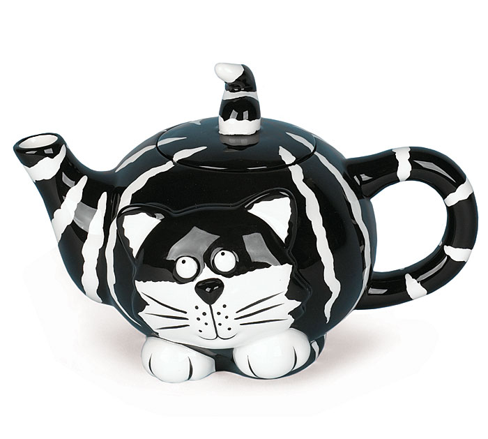 "Pet Pawties In A Box! Black and White Cat Teapot. The ""Chester Cat""..."