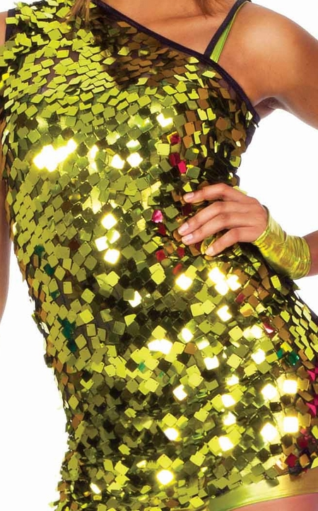 Asymmetrical square sequin tunic top