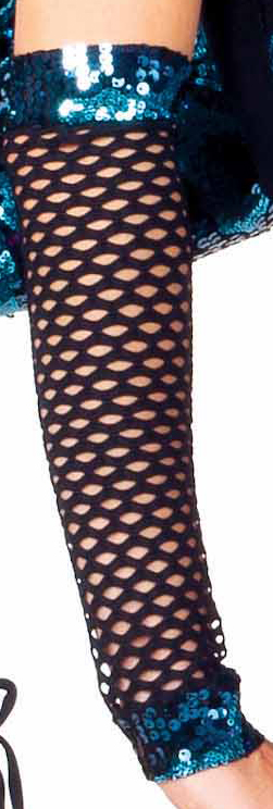 Black mesh arm warmers with sequin banding
