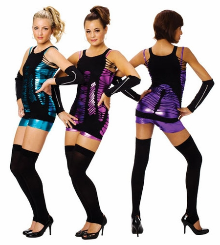 FOIL UNITARDS WITH STRAPPY TUNICS