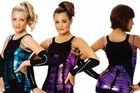Seamless Graphic Tunic-Dress/Foil Unitards With Strappy Tunics