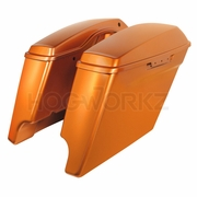 """4"""" Stretched Saddlebags for Harley '14-'17 Touring - Amber Whiskey"""