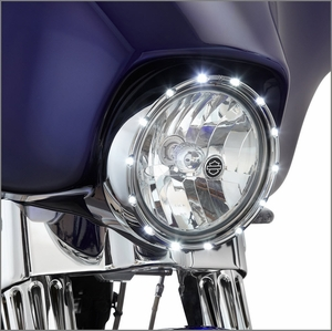 Arlen Ness Fire Ring LED Bezel Running Lights - Chrome
