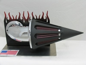 Black Wrinkle Cone with Chrome Elbow