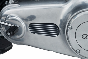Finned Primary Inspection Cover Accent, Dyna & Softail - Satin Black & Machined
