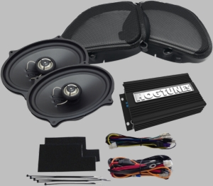 "Hogtunes 200 Watt 2-Channel Amp with 5 x 7"" Front Speaker Kit for Road Glide"