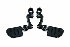 """Longhorn Offset Highway Pegs with Trident Dually & 1-1/4"""" Magnum Quick Clamp - Gloss Black"""