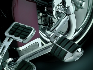 """Longhorn Offset Highway Pegs with Dually & 1-1/4"""" Magnum Quick Clamp - Chrome"""