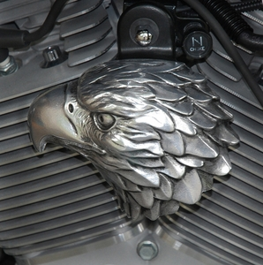 Polished Aluminum Bald Eagle with Heavy Accents