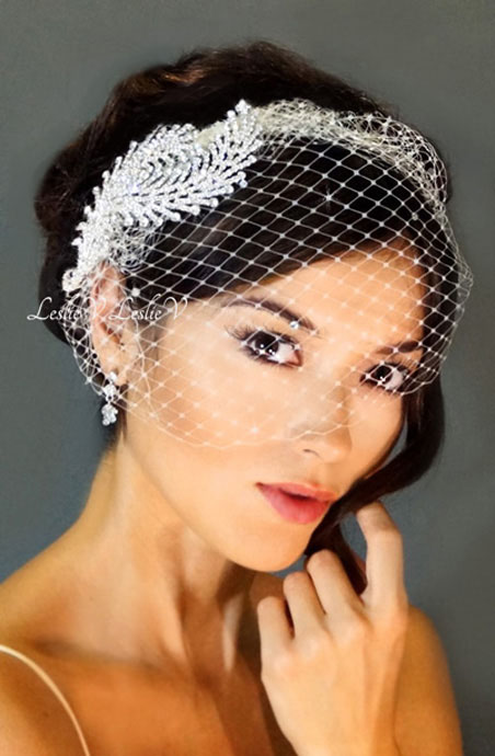 Athena Two Leaf Crystal Rhinestone Combs Pee Birdcage Wedding Veil 27 F06726