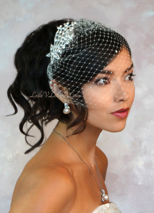 Venus Rhinestone Spray Bridal Comb Pee Birdcage Wedding Veil 27 71025