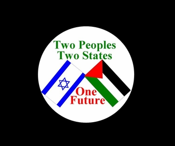 Two People Two States One Future: Israel Palestinian Flag Peace Button