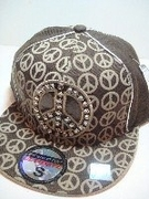 Brown Urban Rhinestone Peace Cap
