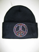 Multi Colored Rhinestone Peace Sign Wool Cap