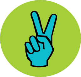 Peace Fingers Button