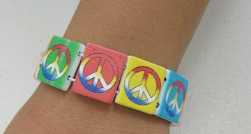 Wooden Rainbow Peace Bracelet