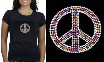 Rainbow Peace Sign Rhinestone Baby Doll Shirt