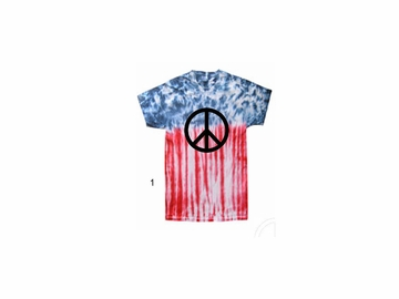 Red White and Blue Tie Dye Peace Shirt