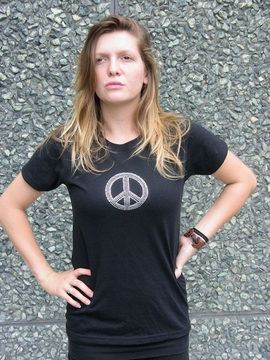 Silver Rhinestone Peace Sign Womens Shirt