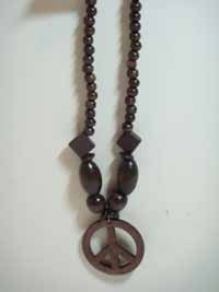 Wooden Beads Necklace - Peace Sign Pendant