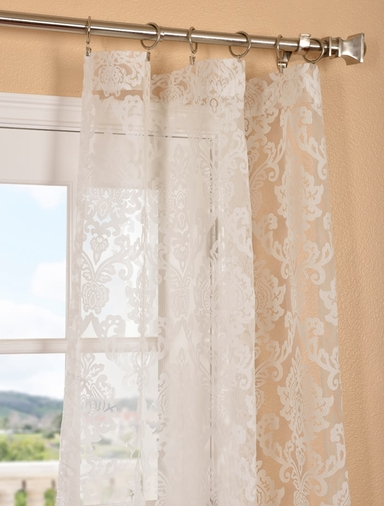 Patterned Sheer Curtains Half Price Drapes Wayfair Margo Ivory Patterned Sheer Curtain