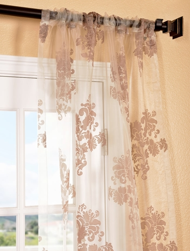 Francesca Taupe Patterned Sheer Curtains Drapes