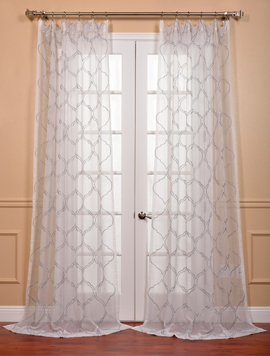 Florentina Silver Embroidered Sheer Curtains Drapes