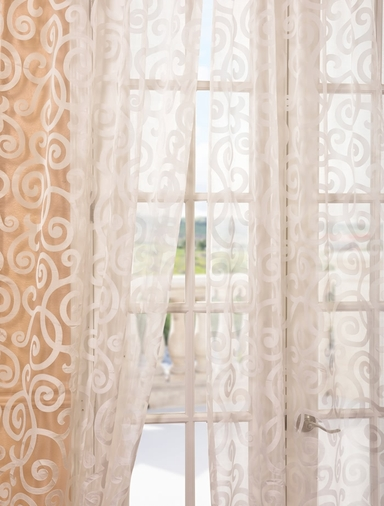 Marietta white patterned sheer curtains drapes for Patterned sheer curtain panels