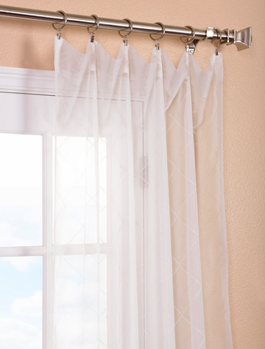 Vita Off White Embroidered Sheer Curtains Drapes