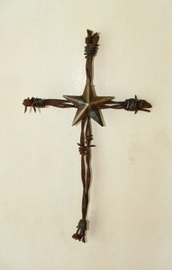 Barbed Wire Cross Small w/Star (#50929)