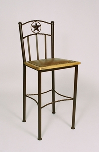 "Barstool w/Seal & Wood Framed Leather 24""  (#50526)"