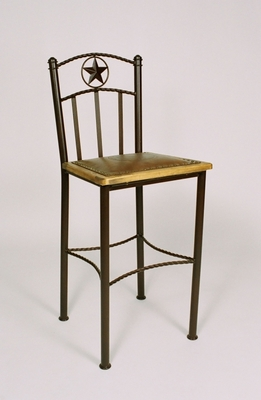 "Barstool w/Seal & Wood Framed Leather 30""  (#50522)"