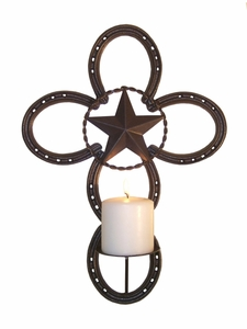 Horseshoe Cross w/Candle Holder  (#50348)