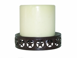 "Plate Candle Holder w/Star Band 7""  (#50473)"