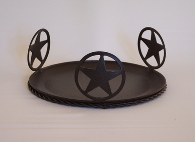 "Star Concho Plate Candle Holder 7""  (#50528)"